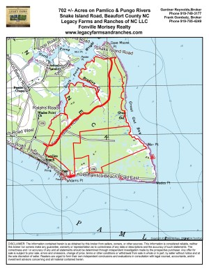 702 Acres at Snake Island near Pamlico Beach in Beaufort County NC