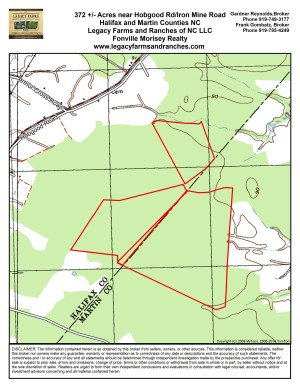 372 acres on Halifax Martin County Line near Hobgood NC