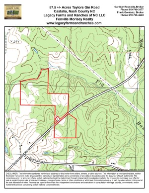 87.5 Acres on Taylors Gin Road near Castalia in Nash County NC