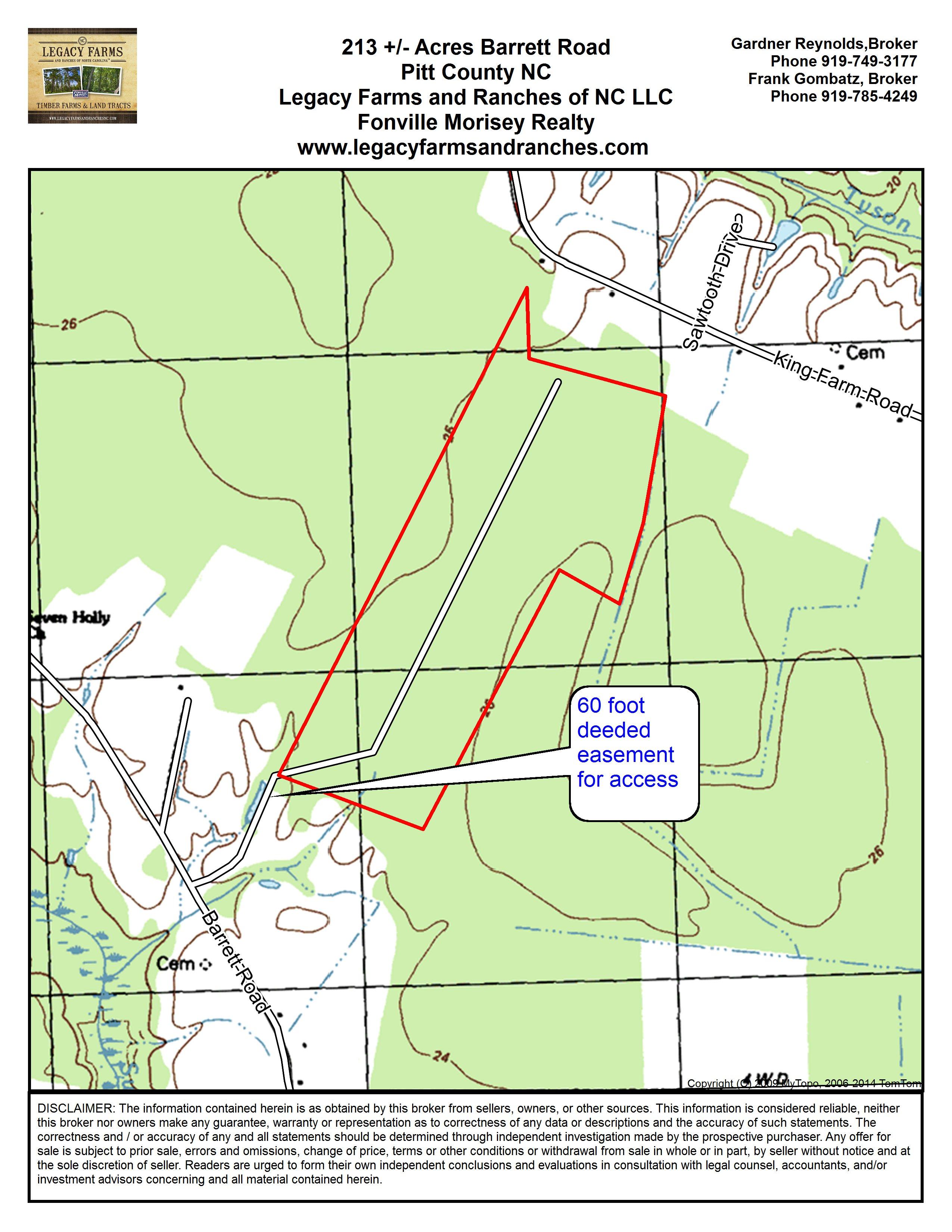 213.8 Acres off Barrett Farm Road in Pitt County NC