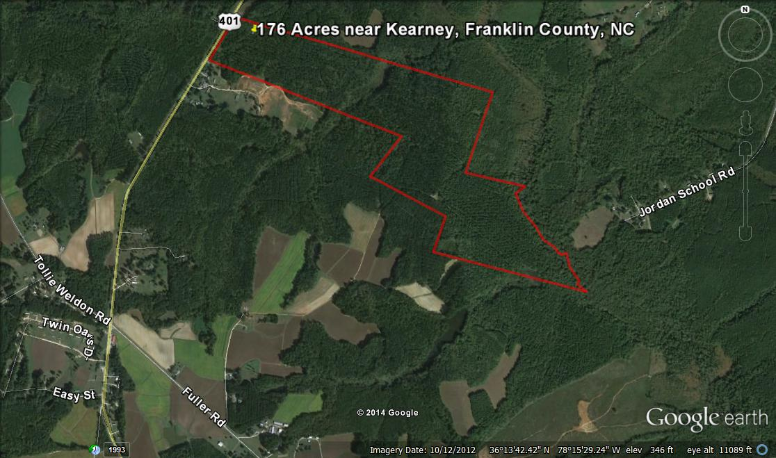 176 Acres for sale in Franklin County NC 10 min north of Louisburg near Kearney
