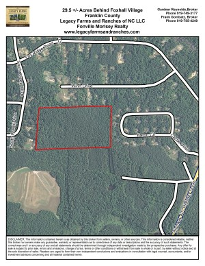 29.5 Acres in Franklin County behind Foxhall Subdivision Louisburg NC