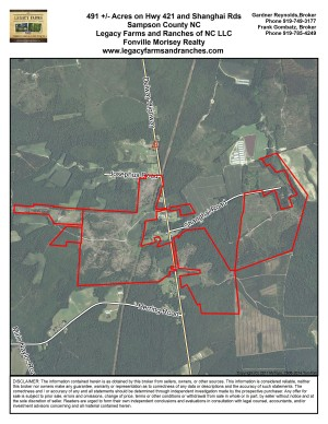 491 Acres just 45 minutes north of Wilmington in Sampson County NC
