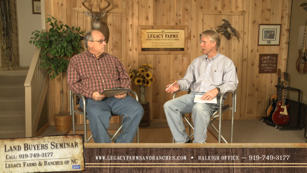 Brokers Frank Gombatz and Gardner Reynolds discussing Land Buying issues on a new video series offered by Legacy Farms and Ranches of NC.