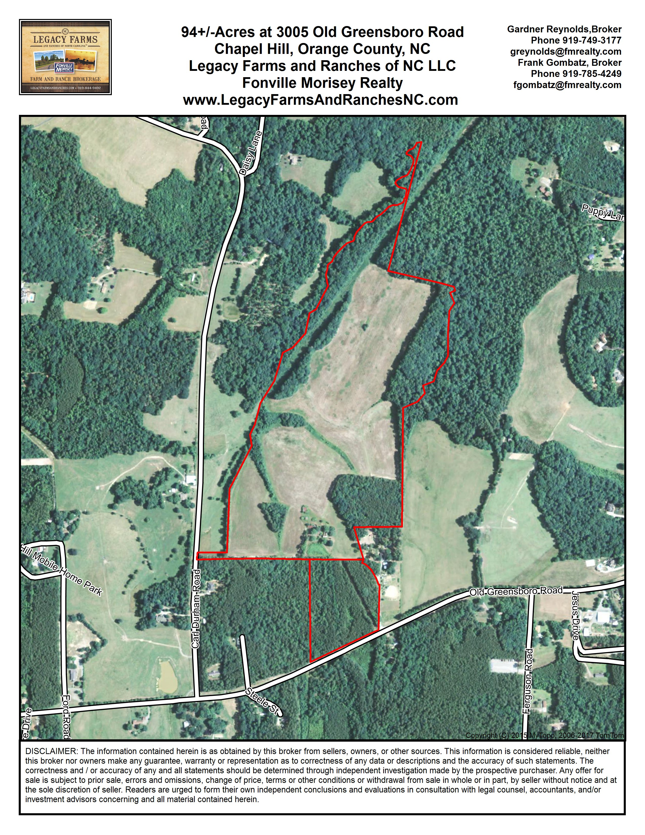 94 Acres Just Outside Chapel Hill In Orange County