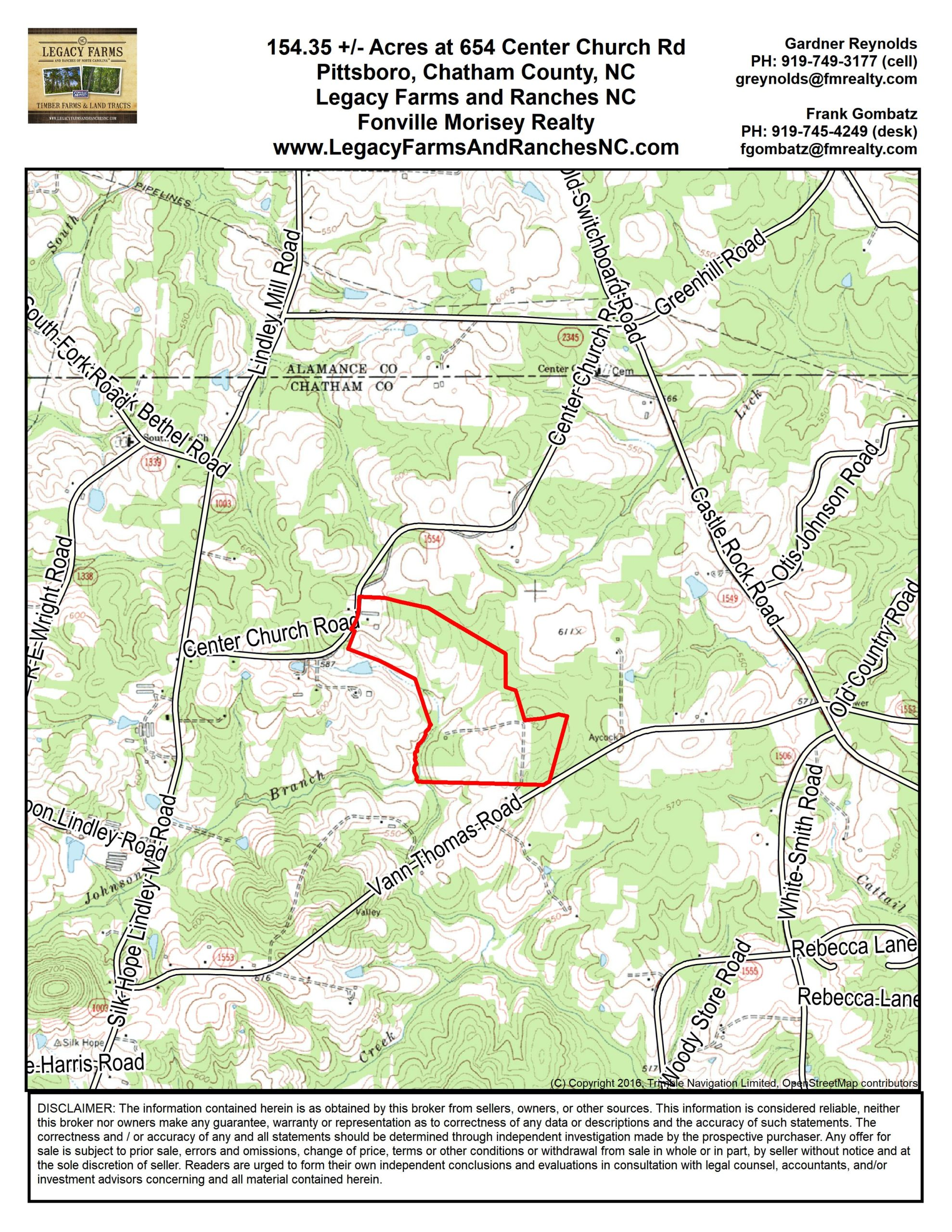 154 Acres Land for Sale in Chatham County
