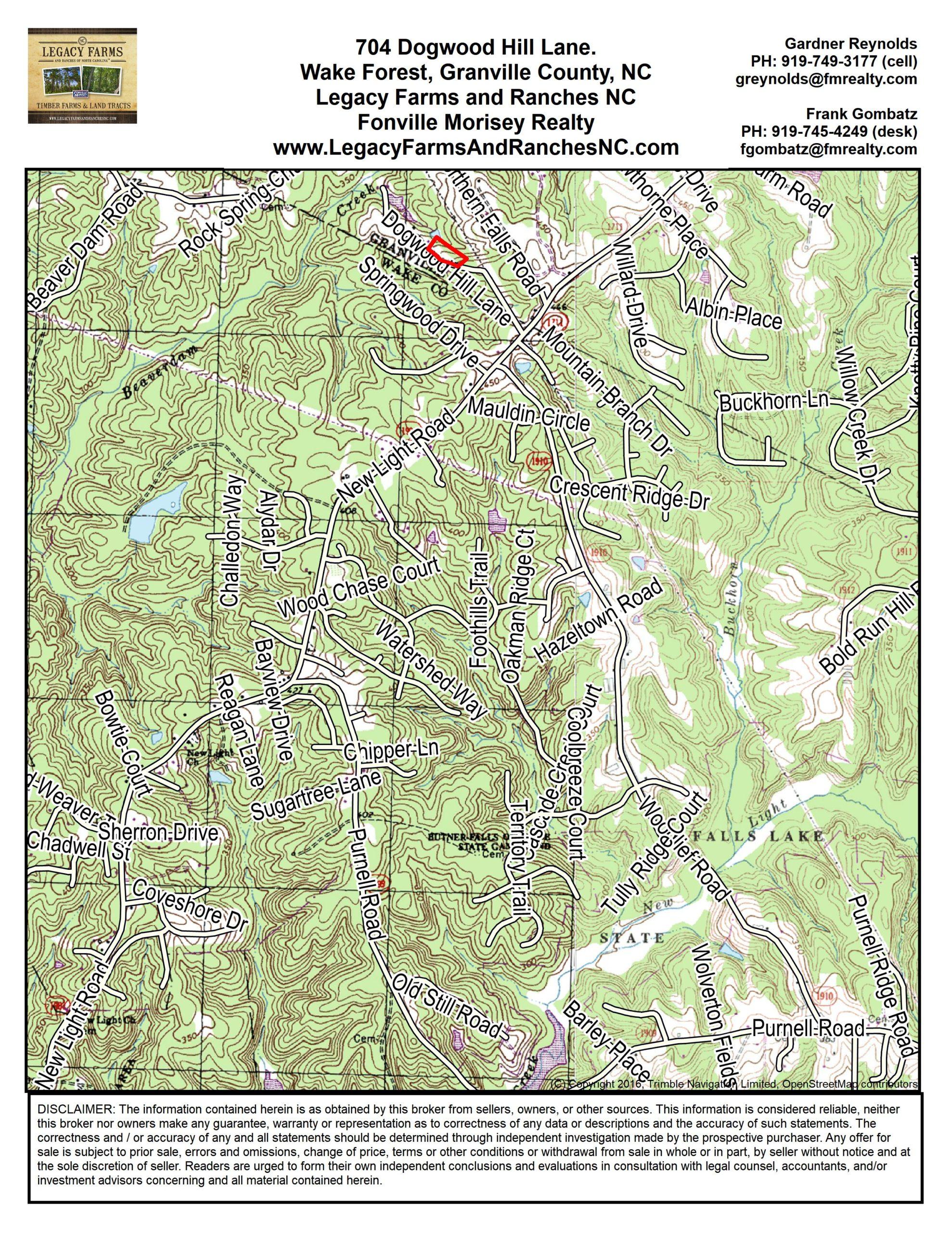 704 Dogwood Hill Lane, Wake Forest NC 27587 Location